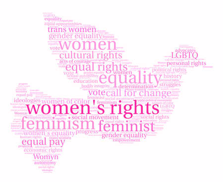 womens work: Womens Rights word cloud on a white background. Illustration