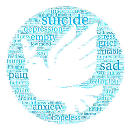 ashamed: Suicide word cloud on a white background.