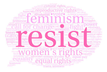 social history: Womens Rights Resist Word Cloud on a white background.