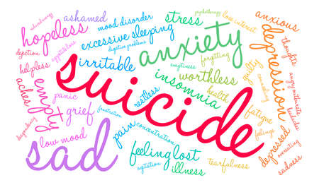 Suicide word cloud on a white background.