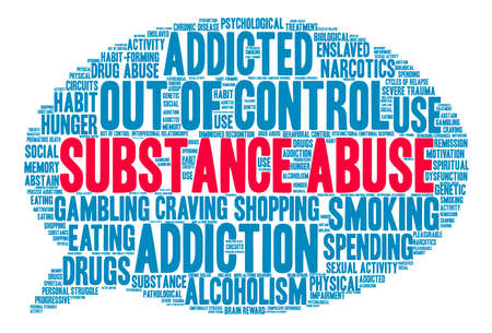 remission: Substance Abuse word cloud on a white background. Illustration