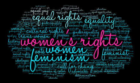 Womens Rights word cloud on a black background. Stock Vector - 74007325