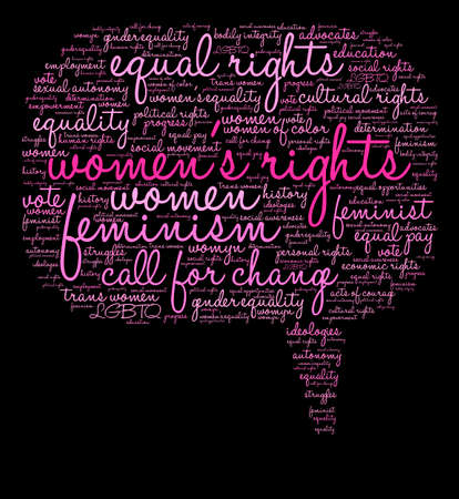 Womens Rights word cloud on a black background. Stock Vector - 74010069