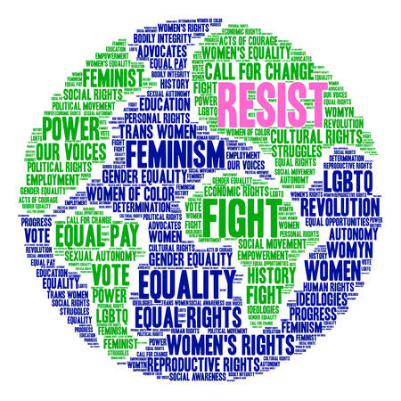 Womens Rights Resist Word Cloud on a white background. Stock Vector - 74040475