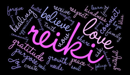 Reiki word cloud on a black background. Illustration