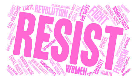 Womens Rights Resist Word Cloud on a white background. Stock Vector - 74039390