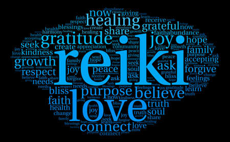 goodness: Reiki word cloud on a black background. Illustration