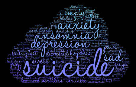Cute Suicide word cloud on a white background.