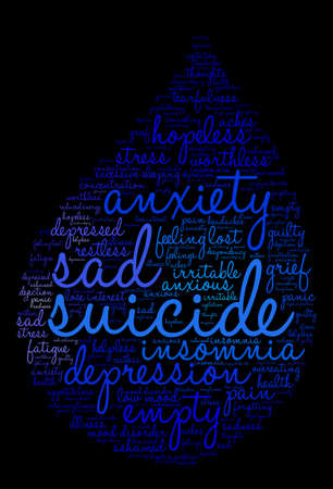 low energy: Suicide word cloud on a white background.