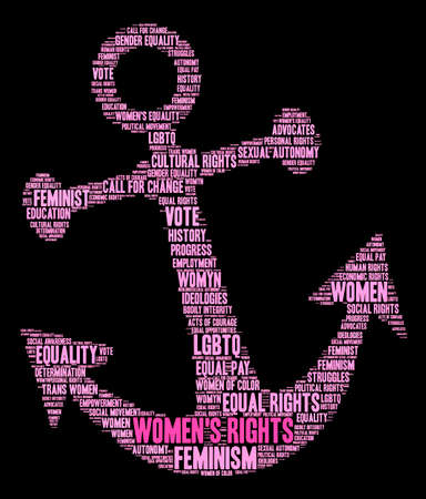 Womens Rights word cloud on a black background. Stock Vector - 74098195