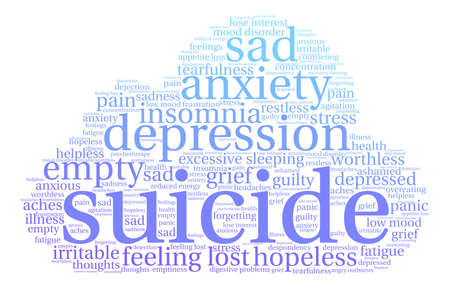 Blue Suicide word cloud on a white background.