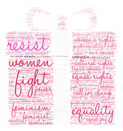 Womens Rights Resist Word Cloud on a white background. Stock Vector - 73883645