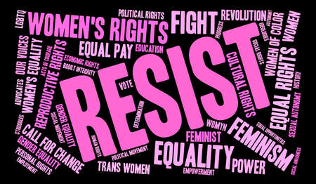 trans gender: Resist word cloud on a black background.