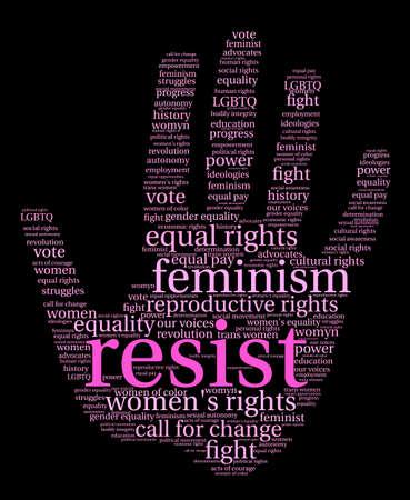 womens work: Resist word cloud on a black background.