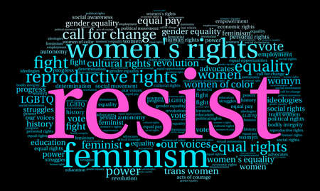 Resist word cloud on a black background.