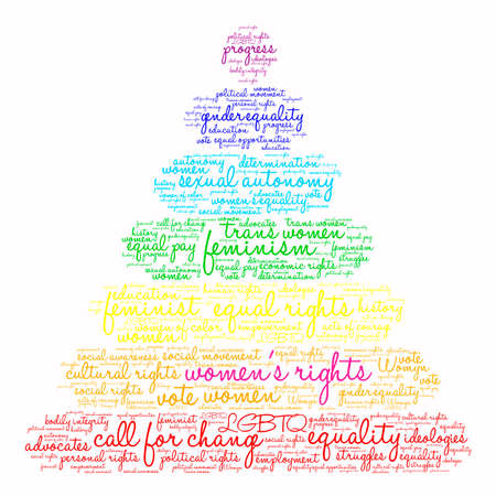 Cute womens Rights word cloud on a white background. Illustration