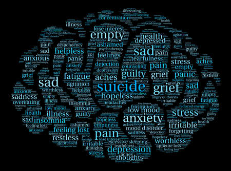 Brain suicide word cloud on a white background. Illustration