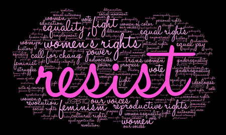 autonomía: Resist word cloud on a black background.