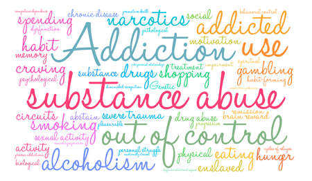 Substance Abuse word cloud on a white background. Иллюстрация