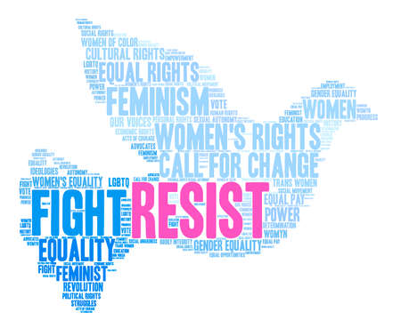 trans gender: Womens Rights Resist Word Cloud on a white background.