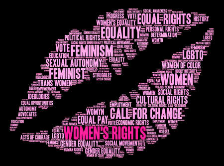 Womens Rights word cloud on a black background. Stock Vector - 73725125