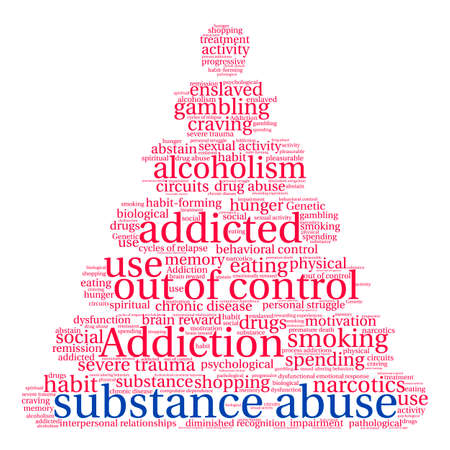 compras compulsivas: Substance Abuse word cloud on a white background. Vectores
