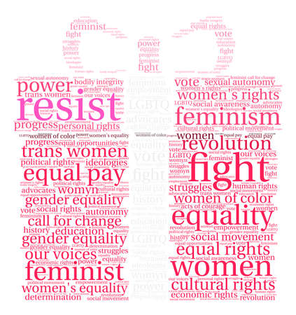 Nice Womens Rights Resist Word Cloud on a white background.