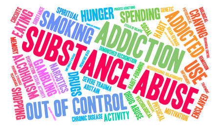 Substance Abuse word cloud on a white background. Illustration