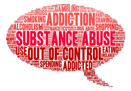 compulsive: Substance Abuse word cloud on a white background. Illustration
