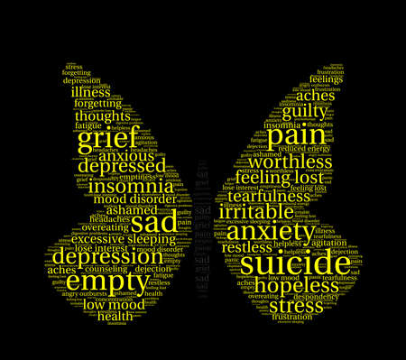 Butterfly Suicide word cloud on a white background. Illustration