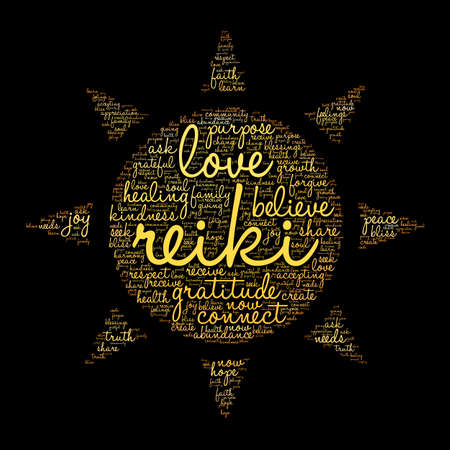 body consciousness: Reiki word cloud on a black background. Illustration