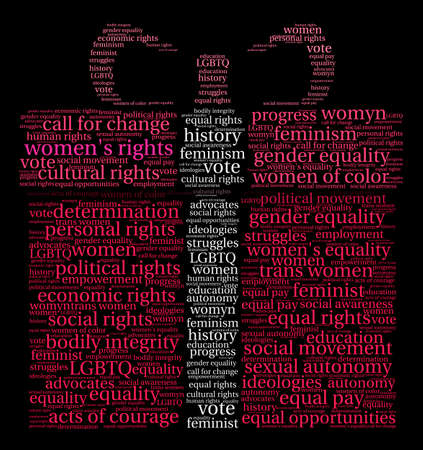Womens Rights word cloud on a black background. Stock Vector - 73886859