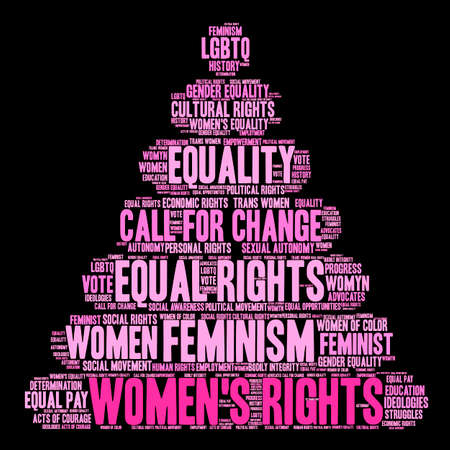 Womens Rights word cloud on a black background.