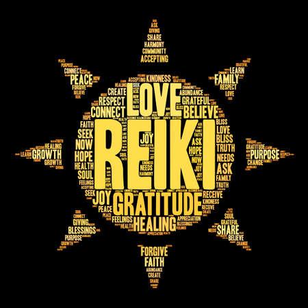 familia orando: Reiki nube de palabras sobre un fondo negro. Vectores