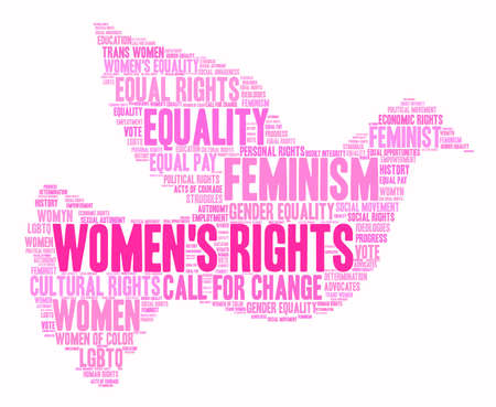 social history: Womens Rights word cloud. Illustration