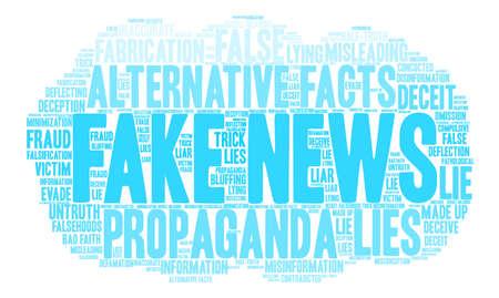 가짜 뉴스 단어 구름 흰색 배경에.