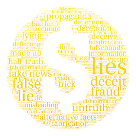 defamation: Lies word cloud on a white background. Illustration