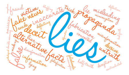Lies word cloud on a white background. 向量圖像