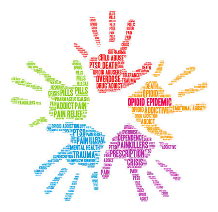 opioid: Opioid Epidemic word cloud on a white background.