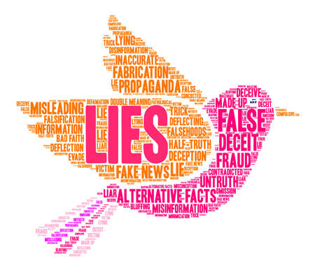 Lies word cloud on a white background. Vectores