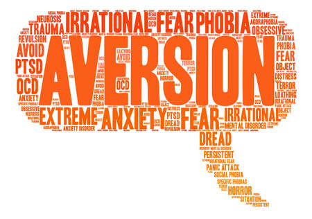revulsion: Aversion word cloud on a white background.
