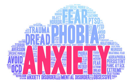 Anxiety word cloud on a white background. 矢量图像