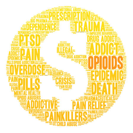Opioids word cloud on a white background. Reklamní fotografie - 84257238