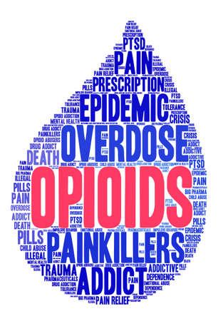 sobredosis: Nube de la palabra de los opiáceos en un fondo blanco.