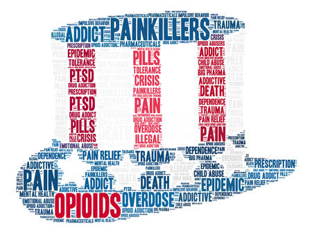 sobredosis: Opioids word cloud on a white background.
