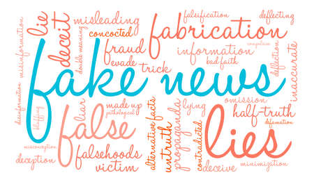 defamation: Fake News word cloud on a white background.