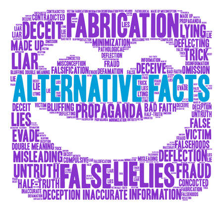 Alternative Facts word cloud on a white background.
