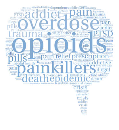 opioid: Opioids word cloud on a white background.