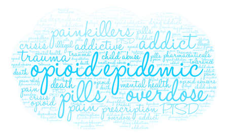 Opioid Epidemic word cloud on a white background.  Ilustrace