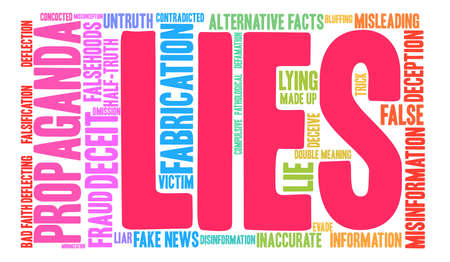 Lies word cloud on a white background. Çizim